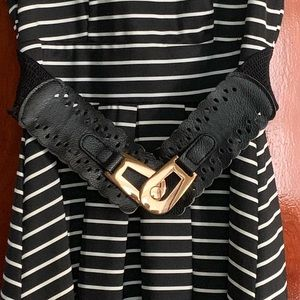 Women's striped belt dress